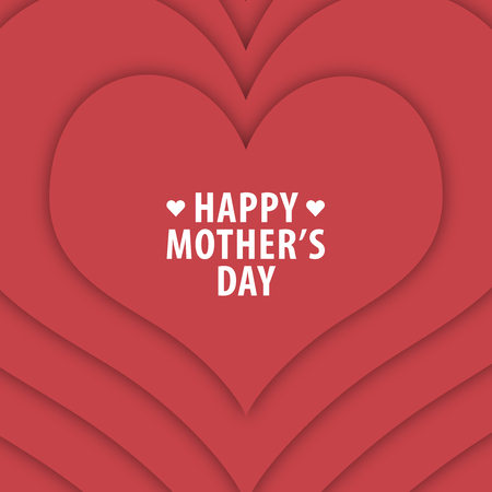 woman white shirt: Happy mothers day card vintage retro type font. Happy mothers day with red heart background. All in a single layer.