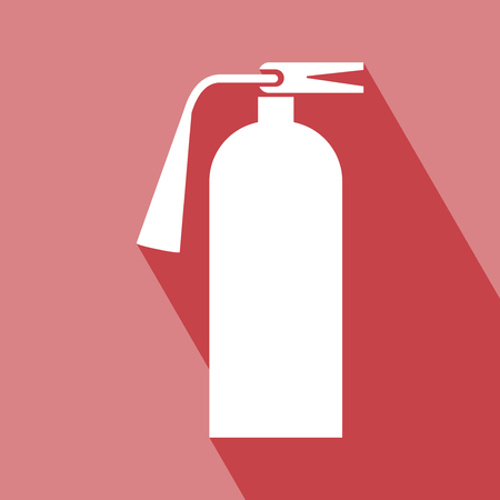 foam safe: Fire Extinguisher Icon. Fire Extinguisher Icon with Long Shadow. Fire Extinguisher Icon on red background. All in a single layer.  Fire Extinguisher Icon Vector illustration. Fire Extinguisher Icon Elements for design. Illustration