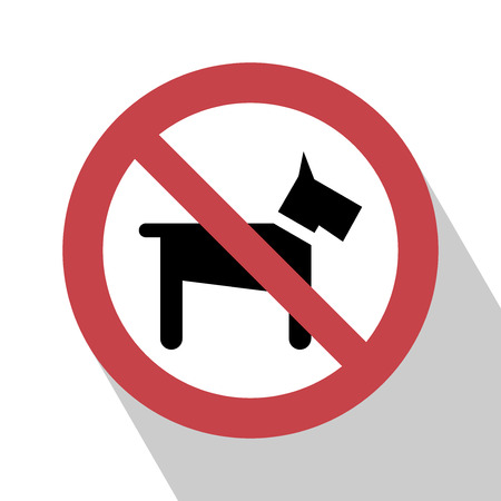 designated: No Dogs Sign. No dog sign vector illustration. Not Dog sign vector.  All in a single layer. No Dogs Sign Elements for design. No Dogs Sign with Long Shadow.