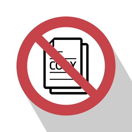 no symbol: No copy sign. No copy file sign red prohibition. All in a single layer. Do not Copy file sign icon. Duplicate document symbol. Stop flat symbol. No copy file sign with Long Shadow.