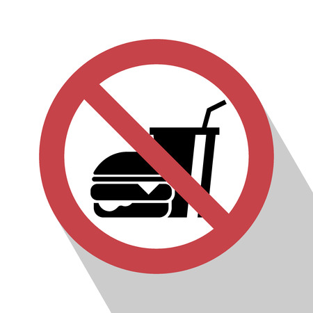 eat: No food sign. No food sign red prohibition. All in a single layer. No food allowed symbol, isolated on white background. Stop flat symbol. No food sign with Long Shadow. No eating vector sign. Illustration