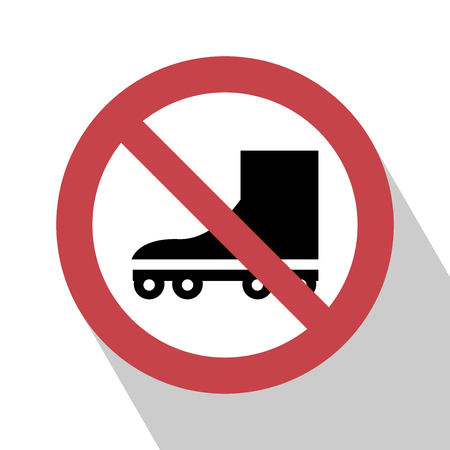 No roller Sign. No roller Sign vector illustration. Not roller sign vector.  All in a single layer. No roller Sign Elements for design. No roller Sign with Long Shadow. No roller skate Sign.