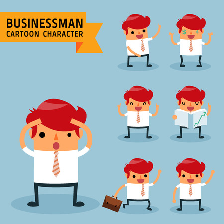 Set of businessman characters poses, expressing feeling and emotional concept, office worker. Elements for design. Vector illustration, isolated on light blue background.