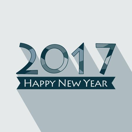 Creative happy new year 2017 design. EPS 10 vector illustration for design. All in a single layer. Vector illustration. Long shadow design. Happy New Year 2017. Illustration