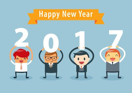Businessmen holding 2017 letters, New year vector illustration. happy new year concept.