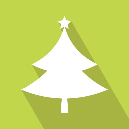 Flat Christmas tree icon. christmas tree, design, vector illustration. Christmas Tree flat icon. Elements for design. Christmas Tree Icon on green background.