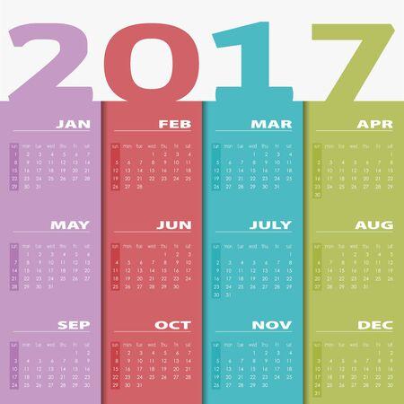 Calendar for 2017. Colorful vector. Calendar 2017 Set of 12 Months. illustration Vector template of color 2017 calendar.