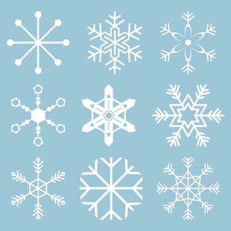 Snowflake icons. Snowflake Vectors. Snowflakes set. Background for winter and christmas theme. Vector illustration. EPS10.