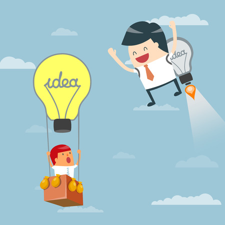 Business moves faster with a idea rocket. Businessman startup Progressive Ideas, Business concept - vector illustration