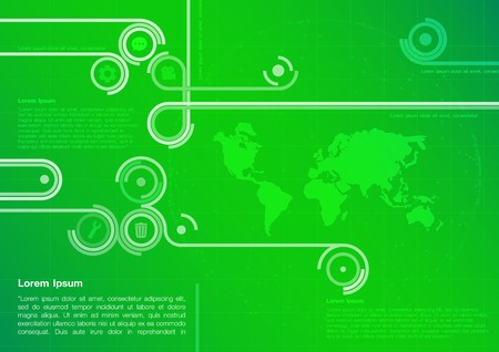 green technology: Green technology design with world map. Green Abstract Technology Background. Background Technology Green. Vector illustration.