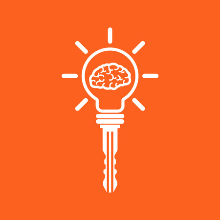 ide: Key of idea. Creative brain sign with key symbol. Key of success. Business and education idea concept. Vector illustration.