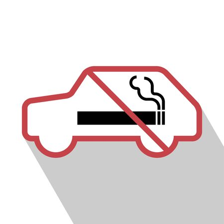 smoldering: No smoking sign in the car. vector illustration. All in a single layer. No smoking Sign Elements for design. No smoking Sign with Long Shadow.