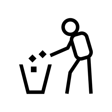 keep clean: Tidy man symbol on white background. Keep clean icon. Do not litter sign. All in a single layer. Vector illustration. Elements for design.