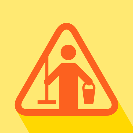 Cleaning in Progress. Cleaning in Progres Sign with long shadow. All in a single layer. Vector illustration. Caution Cleaning in Progres Sign.