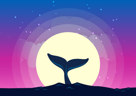 Whale tail dives into the sea background of the moonlight. Beautiful moonlight background with Whale silhouette. All in a single layer. Vector illustration.