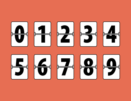 Flip Clock Numbers Flat Style. Flip Clock Numbers on red background. All in a single layer. Vector Illustartion. Elements for design. Illustration