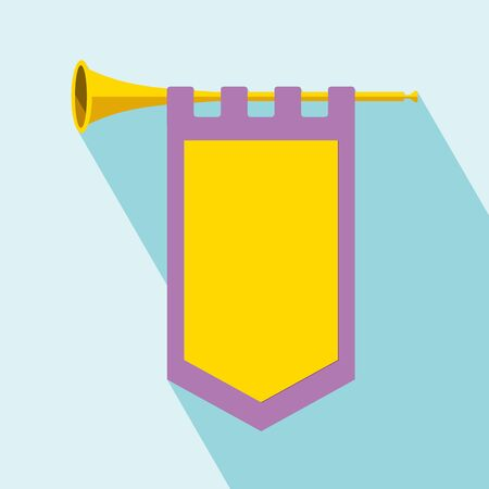 Trumpet with flag icon. Flat illustration of trumpet vector icon for web design. Cleaning Trumpet icon with long shadow. All in a single layer. Vector illustration. Ilustração