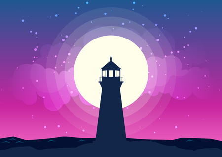 A lighthouse located on top of the mountain background of the moonlight. Lighthouse and moon scenery at night silhouettes vector. Beautiful moonlight background with Lighthouse silhouette. All in a single layer. Vector illustration.