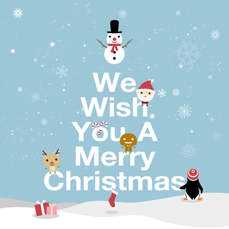 Merry Christmas Card. We wish you a Merry Christmas text. Bright cartoon background with holiday symbols. Christmas greeting cards on blue background. All in a single layer. Vector illustration.