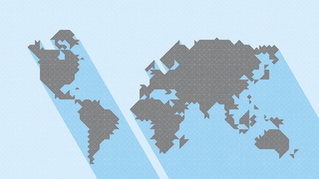 Geometric Map World. Vector map of world with trendy triangles design. Map World with long shadow. All in a single layer. Vector illustration.