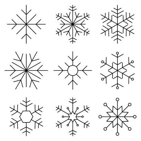 Set of Nine Snowflakes thin line flat design vector illustration. Snowflake icons. Snowflake Vectors. Snowflakes set.Vector illustration.