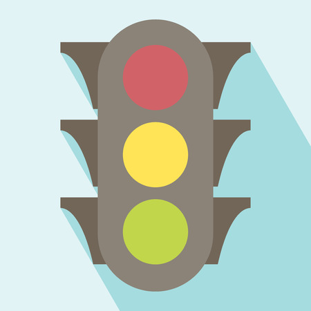 Traffic Light Icon. Icon of traffic light. Flat style. All in a single layer. Vector illustration.
