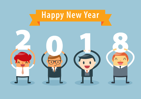 Businessmen holding 2018 letters, New year vector illustration. happy new year concept.