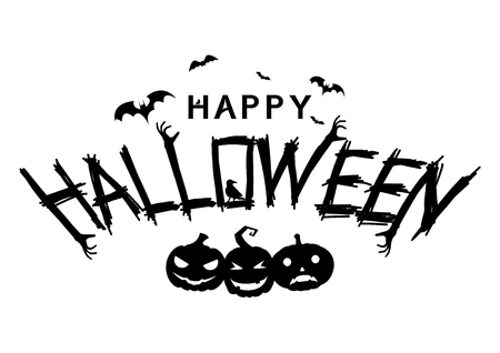Happy Halloween Text Banner. Happy Halloween Lettering text banner with smiling pumpkin silhouette. Illustration