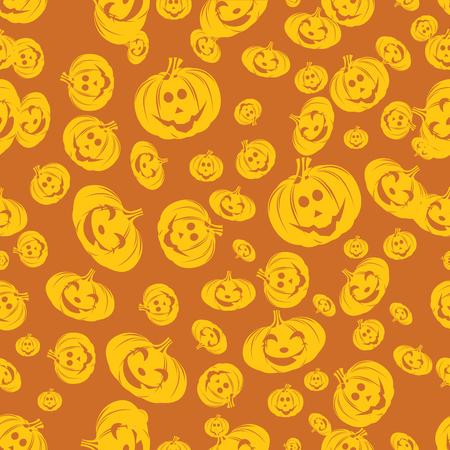 Happy Halloween Background. Seamless Halloween Pattern. Halloween orange festive seamless pattern.