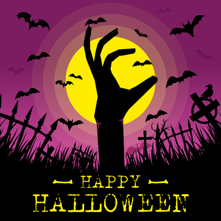 Happy Halloween Background with full moon and zombie hand. Halloween background with zombies and the moon.