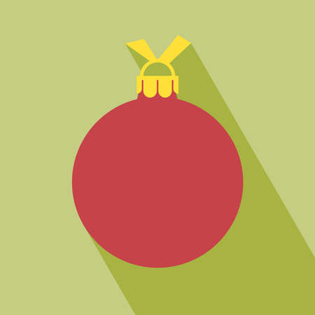 Christmas ball icon. Decorative Pictogram for Christmas with long shadow in a single layer Vector illustration.
