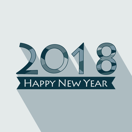 Creative happy new year 2018 design. EPS 10 vector illustration for design. All in a single layer. Vector illustration. Long shadow design. Happy New Year 2018 on blue background. Illustration
