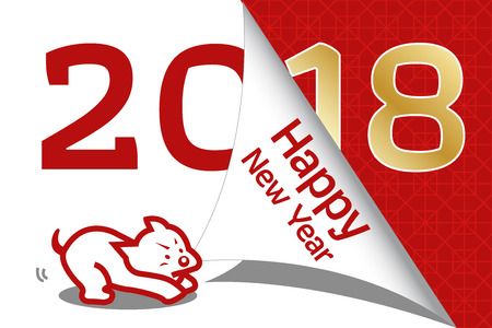 2018 year of dog greeting card template. Cute cartoon dog with chinese new year. Chinese new year. All in a single layer. Vector illustration.