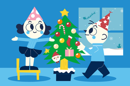 Merry Christmas and a Happy New Year. Young family at Christmas tree. Couple of man and woman. Vector illustration in cartoon style. All in a single layer. Vector illustration.