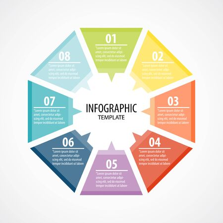 Creative concept for infographic with 8 options, steps, processes of Circle infographic. Cycle diagram. Infographic Template. Business concepts. All in a single layer. Vector illustration.
