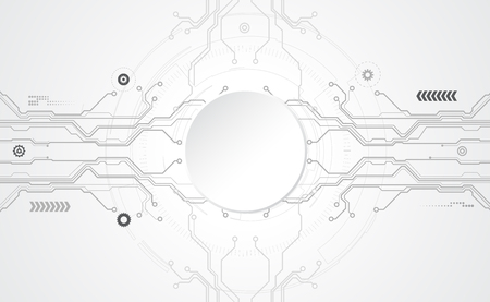 Abstract technological background concept with various technology elements. Vector tech circle and technology background, speed communication concept. All in a single layer. Vector Illustration. Illustration