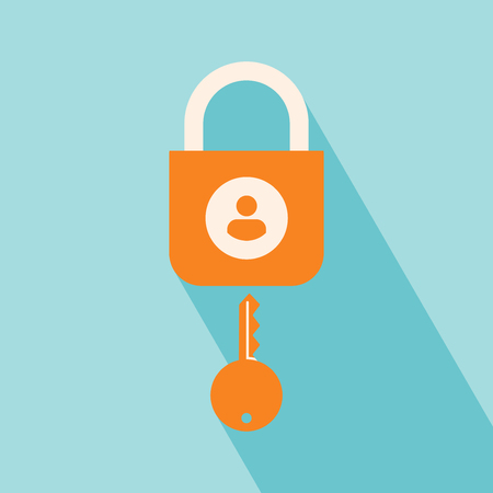 User Security Icon. User Security Icon vector isolated on blue background. User Security Icon with Long Shadow. Key symbol for your web site design. All in a single layer. Flat design style. Vector illustration. Elements for design.