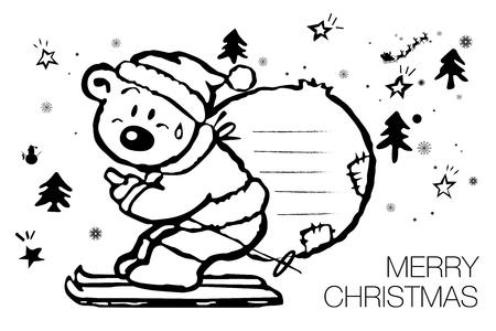 Cartoon polar bear Merry Christmas character. Cute polar bear wearing Santa hat bring presents vector greeting card vector illustration in cartoon style. All in a single layer vector illustration.