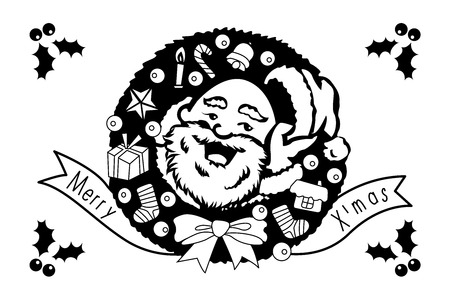 Santa Claus with big signboard. Black and white illustration. Merry Christmas and Happy New Year! Holiday greeting card. Isolated vector illustration.