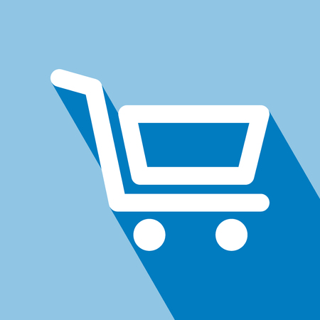 Shopping Cart Icon. Flat design style. Shopping Cart Icon with Long Shadow. Shopping Cart Icon on blue background. All in a single layer. Vector Illustration.