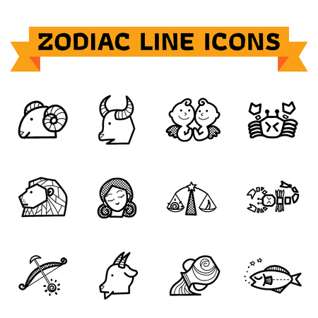 Zodiac signs in thin line style on white background. Set of modern vector plain line design icons and pictograms of zodiac signs. Illustration of the main symbols of astrology isolated and on white background. Vector illustration.