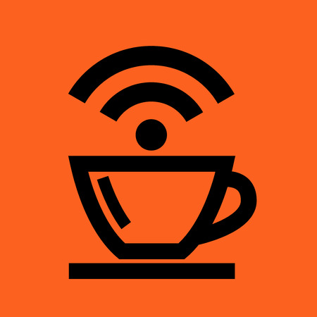 Coffee Cup Wireless Network icon. Vector flat image. Icon of coffee and wifi, Internet. Modern UI element. Hot cup with WiFi wireless signal. Vector illustration. Illustration
