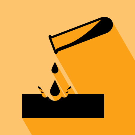 Warning acid icon. Test-tube with acid drop.Caustic chemicals danger sign vector illustration isolated on orange background. Warning acid icon with Long Shadow. All in a single layer. Vector illustration. Elements for design.