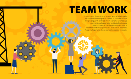 Business Teamwork Concept. Illustration of business people on cog wheel showing team work. Business on Cog Wheel. Teamwork graphic design. Gears wheels over yellow background. Creative concept. Vector illustration