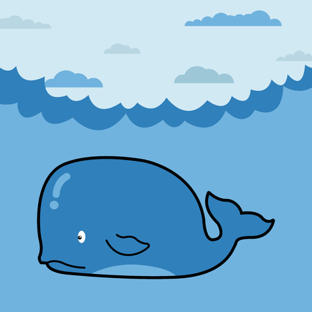 Whale in cartoon style. Whale cartoon, part of the collection of marine life. Illustration of cute cartoon whale. All in a single layer. Vector illustration. Elements for design. Illustration