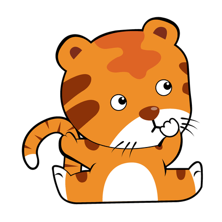 Cute baby tiger cartoon. Cartoon baby tiger isolated on white background. All in a single layer. Vector illustration. Elements for design.