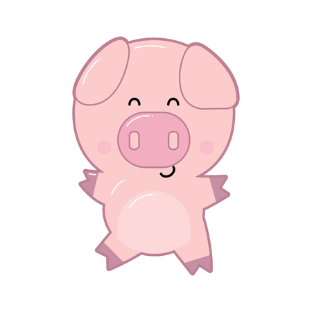 Cute cartoon pig illustration. Cartoon baby pig isolated on white background. All in a single layer. Vector illustration. Elements for design.