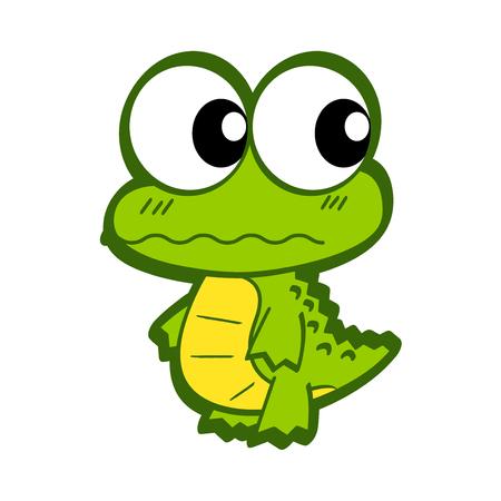 Cute Cartoon Crocodile. Funny crocodile cartoon posing. Cartoon Crocodile isolated on white background. All in a single layer. Vector illustration. Elements for design.