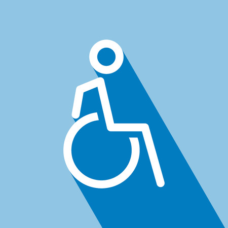 Disabled on wheelchair icon, outline vector illustration. Disabled wheelchair icon. Disable symbol logo. Disable Icon with Long Shadow. Disable Icon on blue background. All in a single layer. Vector Illustration. Illustration