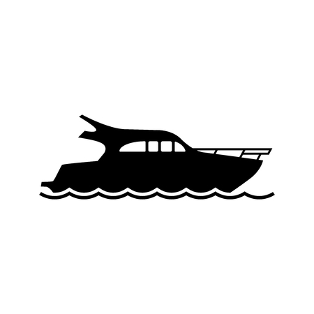 Vector yacht icon. Yacht silhouette on white background. Black speed boat symbol. Ship logo. All in a single layer. Vector Illustration.
